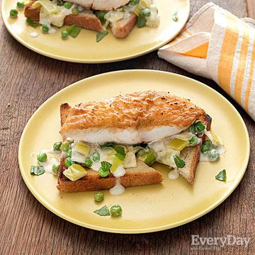 White Fish with Creamy Leeks, Peas & Tarragon