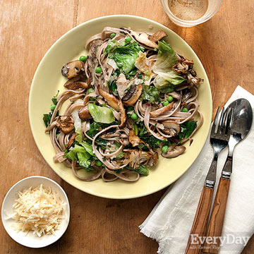Whole Wheat Pasta with Mushrooms, Greens & Spring Peas