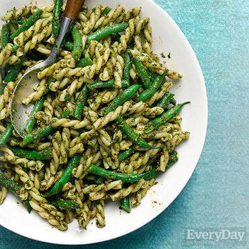 Pistachio-Citrus Pesto with Green Beans and Gemelli