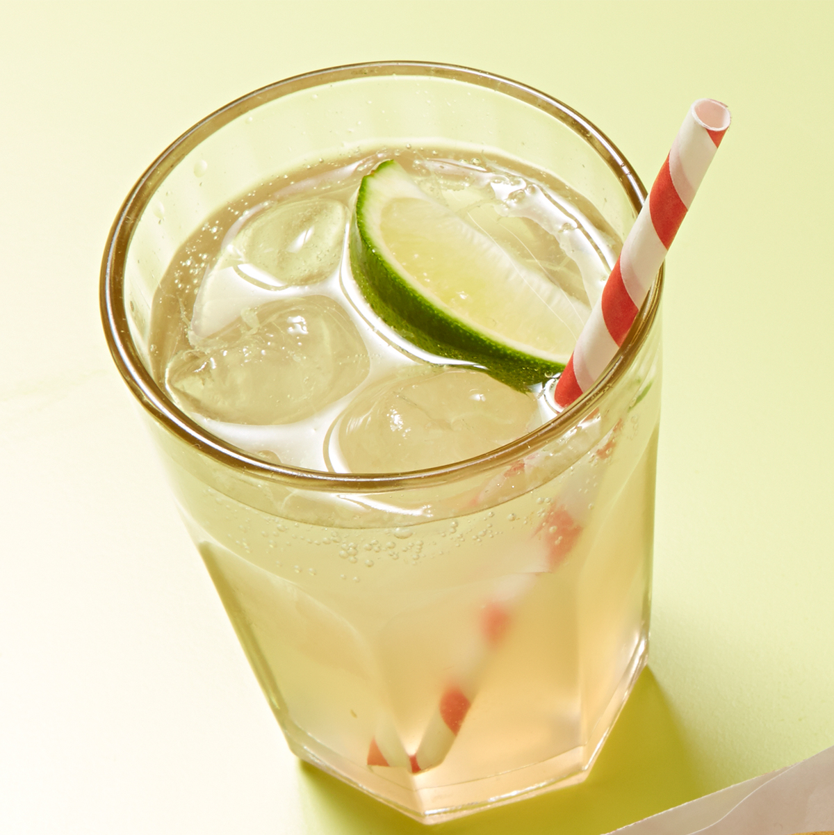 zesty ginger ale with striped straw