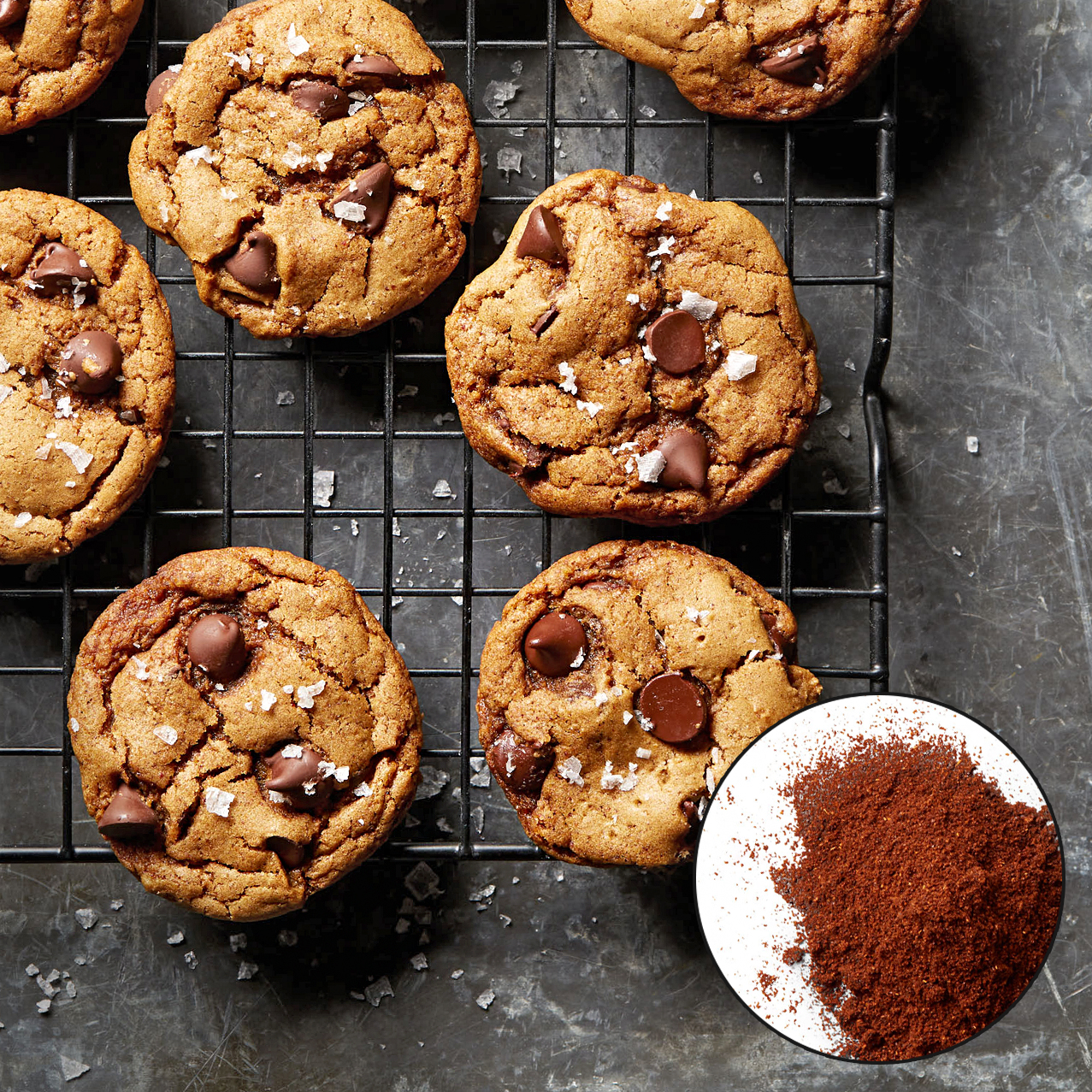 vegan chocolate chip ancho chile cookies with spice inset