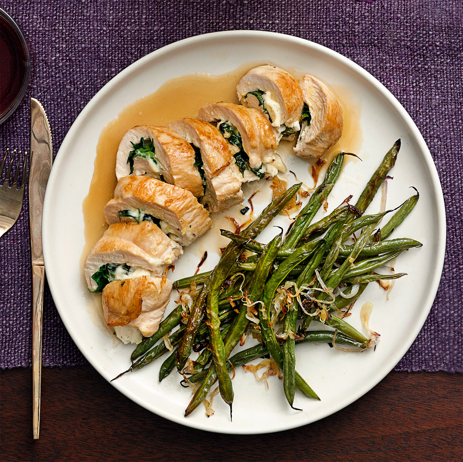 Stuffed Chicken Pinwheels with Roasted Green Beans