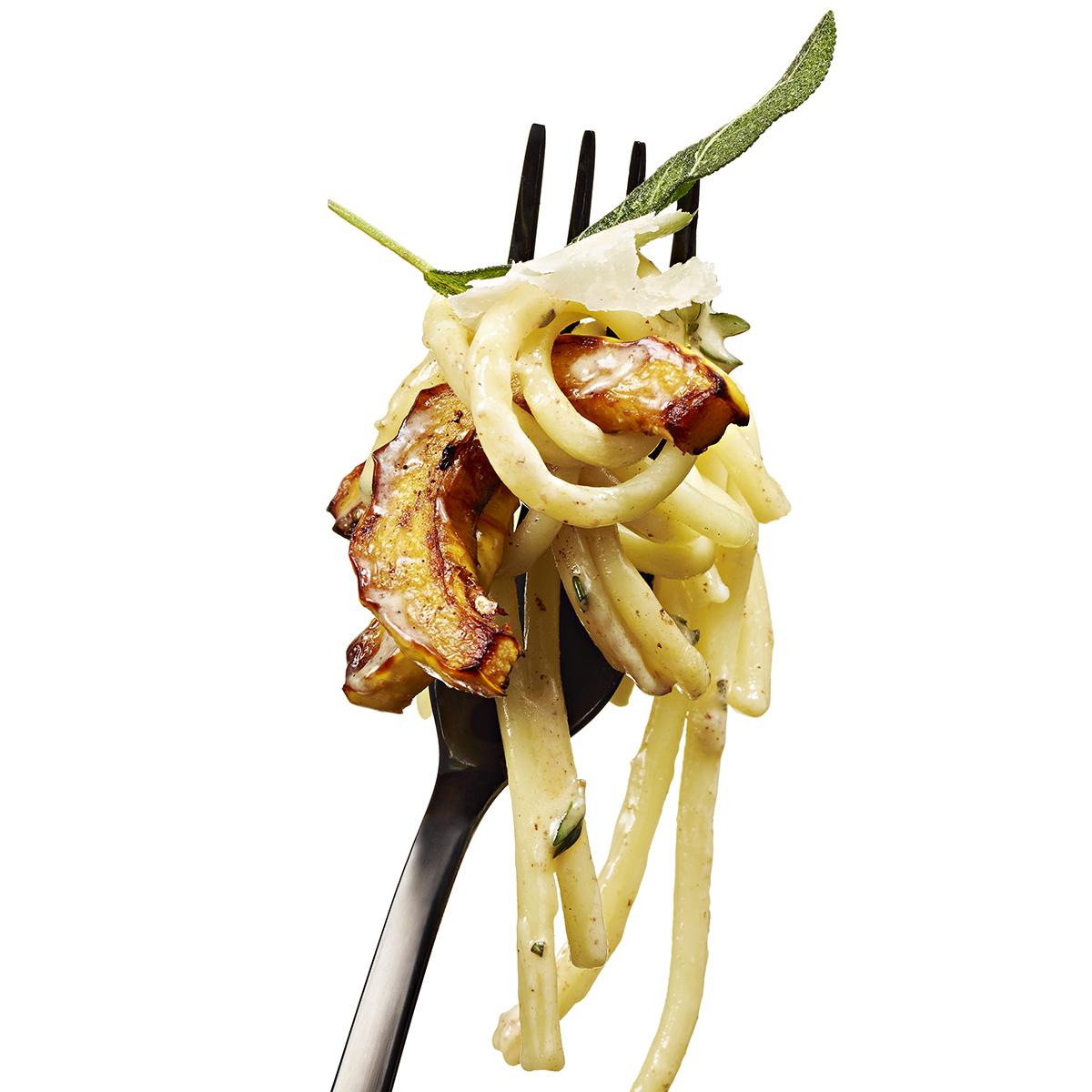 pumpkin spice pasta with delicata squash