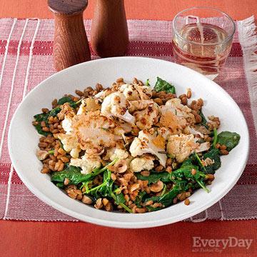 Cheesy Roasted Cauliflower and Garlicky Farro with Kale & Hazelnuts