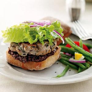 French Tuna Burger with Green Bean Salad
