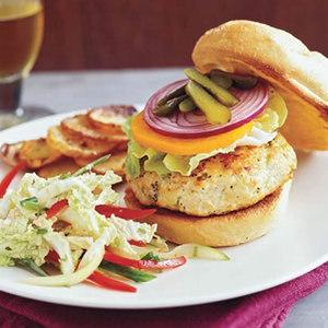 Lemon-Poppy Burgers with Napa Slaw and Potatoes