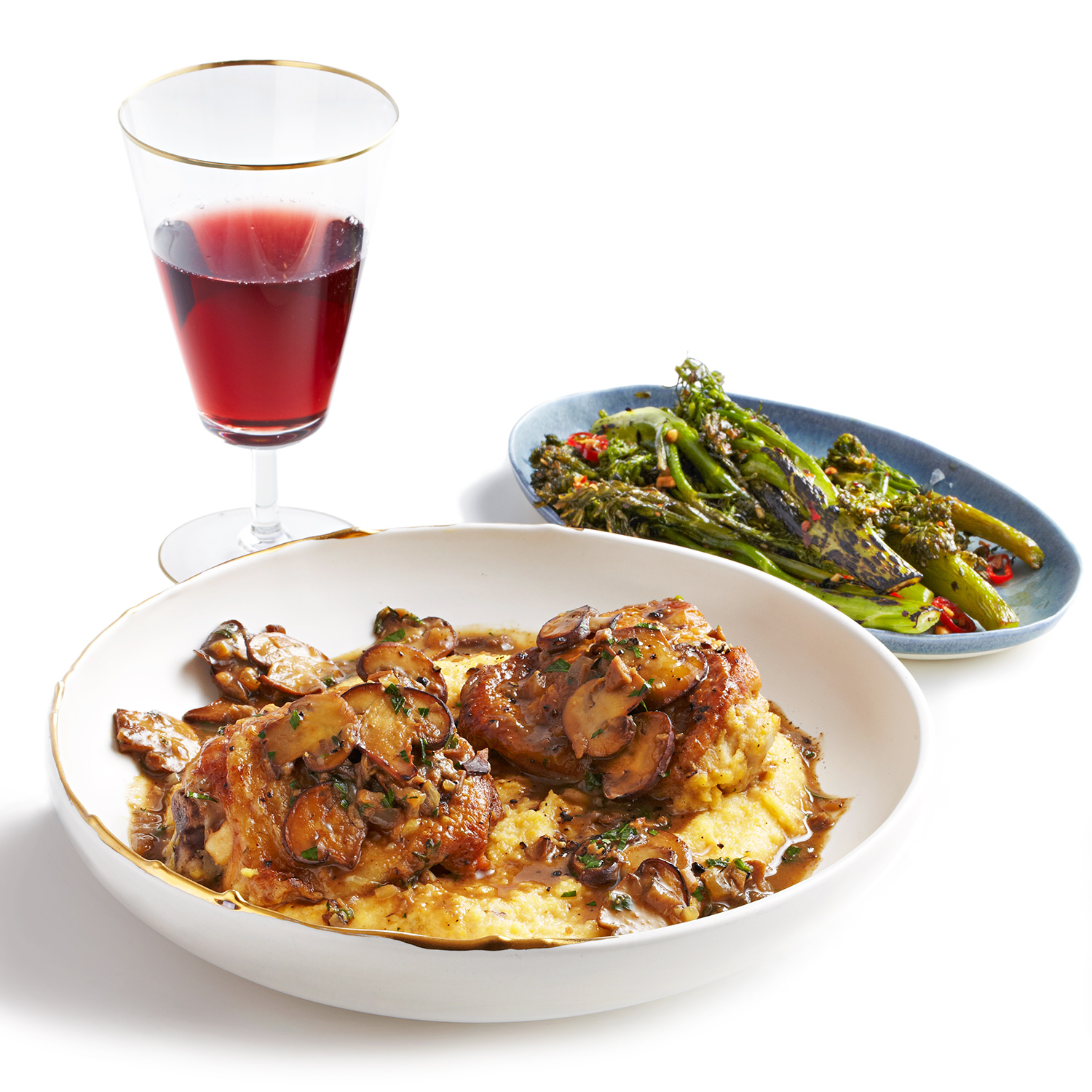 Truffle-Laced Chicken with Mushrooms, Polenta & Roasted Broccolini