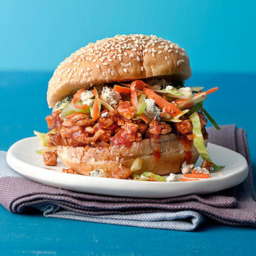 Buffalo Joes with Blue Cheese and Carrot-Celery Slaw Relish