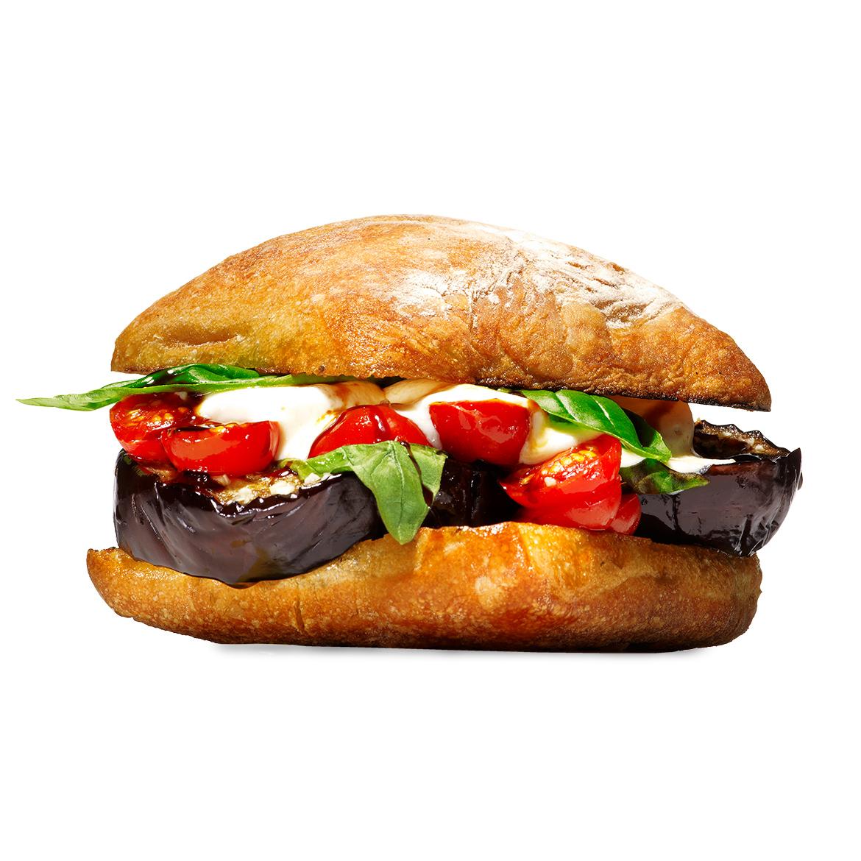 Alex Guarnaschelli Melty Eggplant-Mozz Burger