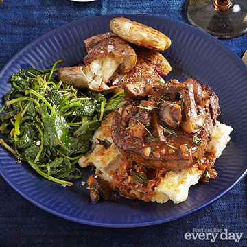 Tournedos Chasseur, Crushed Potatoes & Wilted Baby Greens