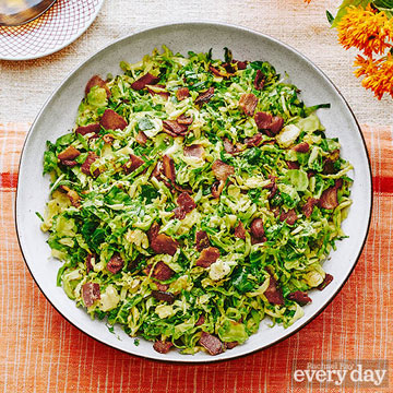Jacque Pepin's Fricassee of Brussels Sprouts and Bacon