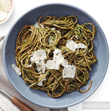 Winter Greens & Walnut Pesto with Whole-Wheat or Farro Spaghetti