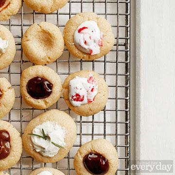Vanilla Thumbprint Cookies with Marshmallow Mint Filling