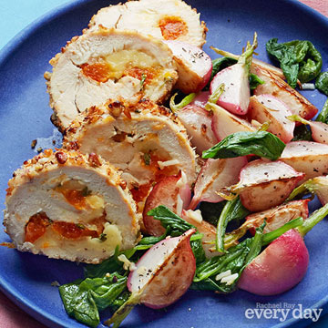 Brie & Apricot-Stuffed Chicken with Sautéed Radishes
