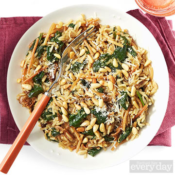 Porcini Pilaf with Spinach & Pine Nuts