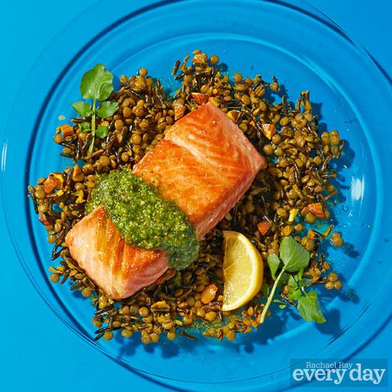 Pan-Seared Salmon with Miso Watercress Pesto & Lentil-Black Rice Salad