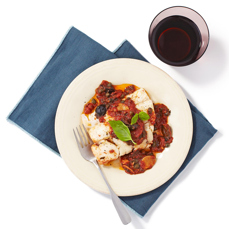 Cod in Puttanesca Sauce