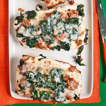 Three-Cheese Bread Pizza with Kale & Sausage