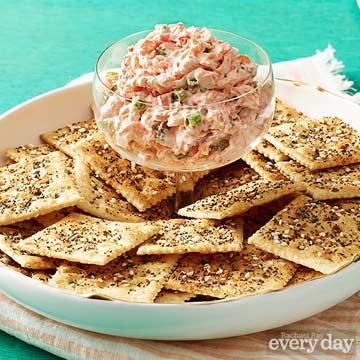 Everything Crackers with Veggie Cream Cheese
