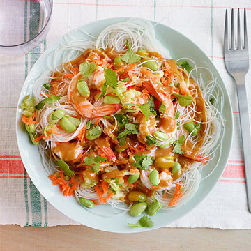 Shrimp Noodle Salad with Peanut Sauce
