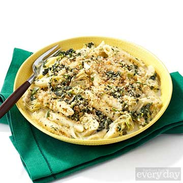 Artichoke & Spinach Penne with Breadcrumbs
