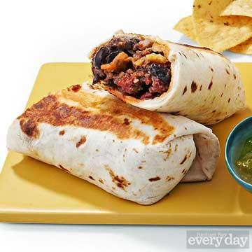 Beef & Fried Black Bean Fritos Burritos