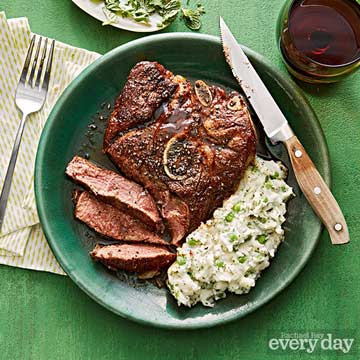 Lamb Chops & Mashed Potatoes with Peas & Herbs