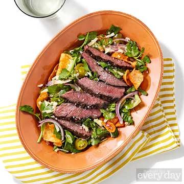 Sliced Steak Salad with Chipotle Vinaigrette & BBQ Chips