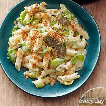 Three-Cheese Pasta with Brussels Sprouts & Sage Breadcrumbs
