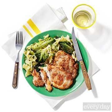 Veal or Pork Scaloppine & Egg Noodles with Gem Lettuce