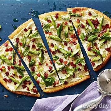 Asparagus, Goat Cheese & Pancetta Pizza