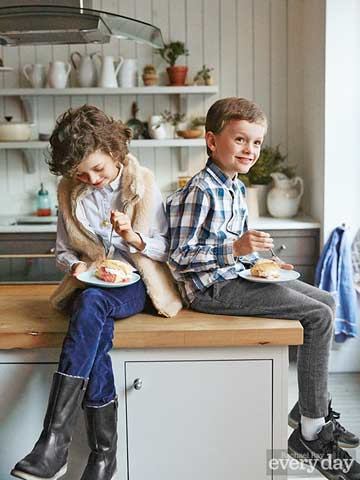 Kids sitting on the counter
