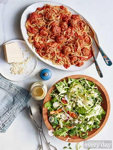 Spaghetti and Salad