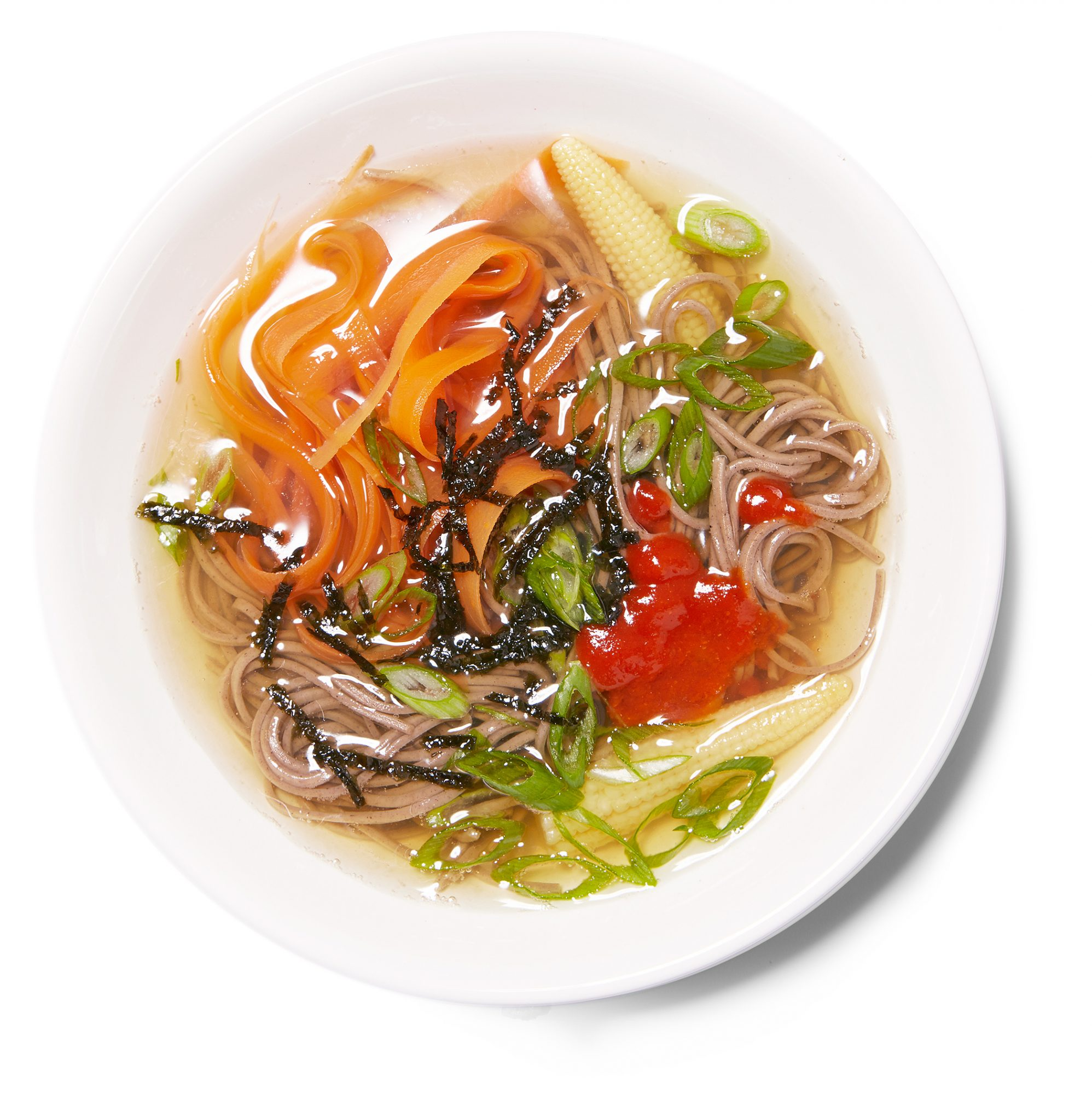 soba noodles in green tea broth