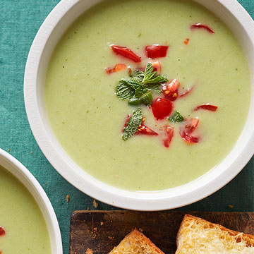 Warm Cucumber Soup with Cheese Toasts