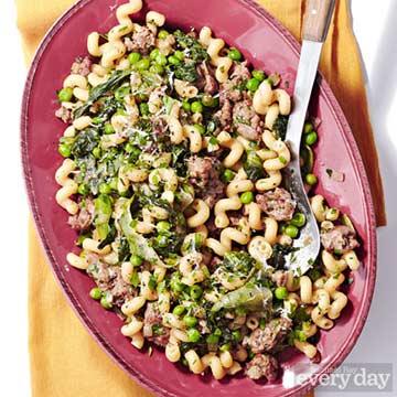 Fusilli with Sausage & Peas