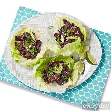 Korean-Style Hanger Steak in Lettuce Cups