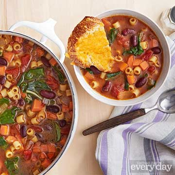 Minestrone with Cheese Toast