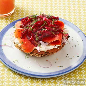 Open-Face Bagel Sammies with Beet Relish & Lox