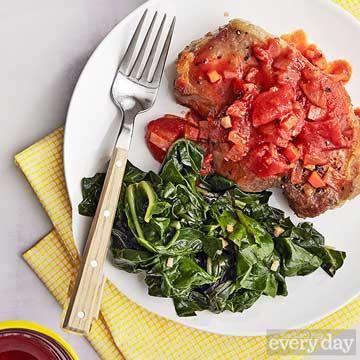 Pork Chops with Zesty Tomato Sauce & Swiss Chard
