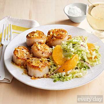 Seared Scallops with Orange Sauce & Napa Cabbage Salad
