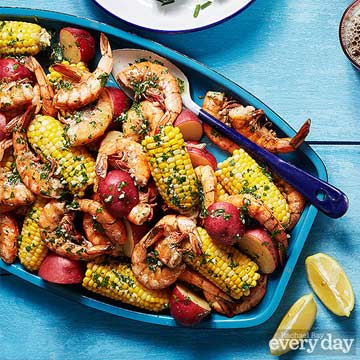 Spicy Boiled Shrimp, Corn & Potatoes with Parsley Butter