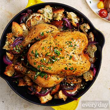 Garlic Chicken with Red Onion & Toasted Bread