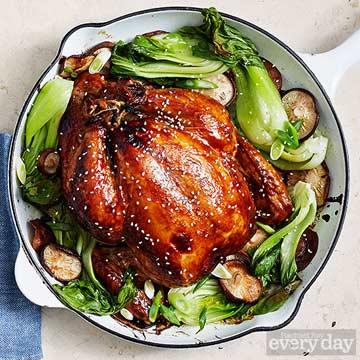 Glazed Sesame Chicken with Mushrooms & Bok Choy