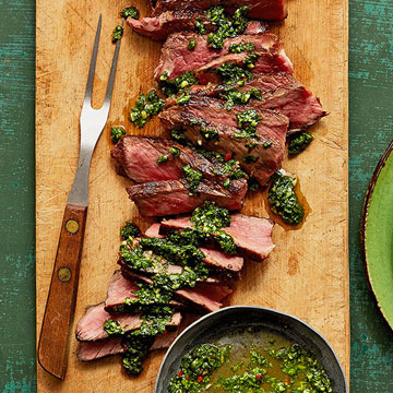 Grilled Steak and Cilantro Chimichurri