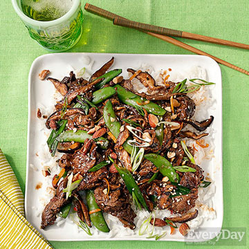 Tangerine Beet Stir Fry with Scallions, Chilies & Snap Peas