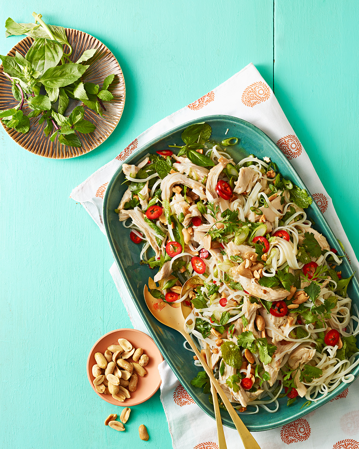 asian chicken and herb salad