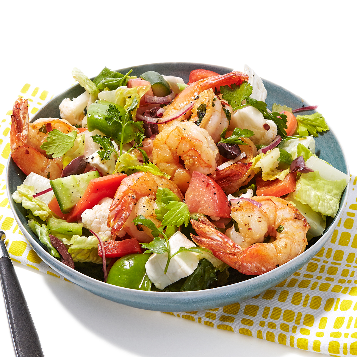 greek village chunk salad with lemon oregano shrimp