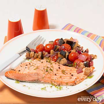 Baked Salmon with Quick Caponata