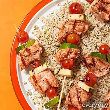 Grilled Salmon Skewers with Minted Rice